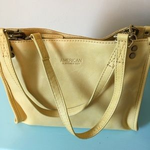 Pale Yellow Leather Satchel AM LEATHER CO.  NWOT